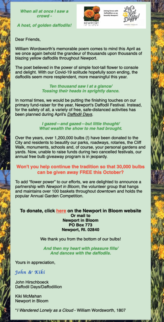 Donations for 2021 Daffodils